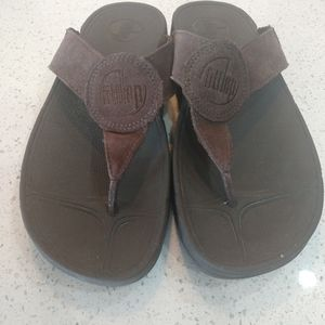 Fitflop Sz 7 Thong Brown Suede Women's  Sandals